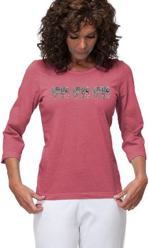 Three Elephants on 3/4th Sleeve Ladies Tee